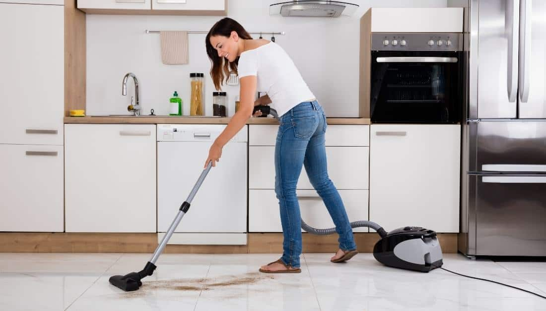 Cleaning Kitchen With Vacuum
