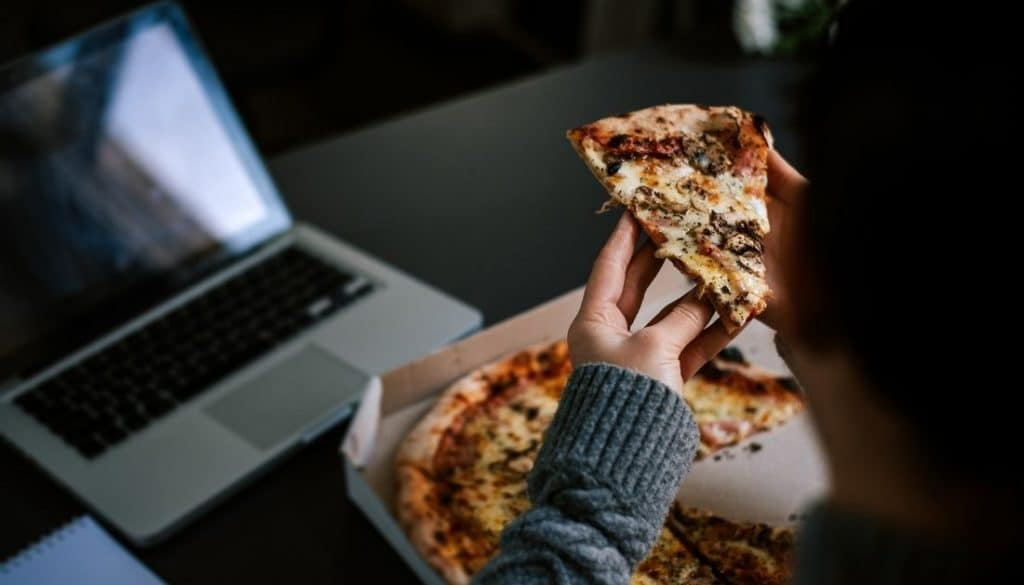 Eating in front of laptop